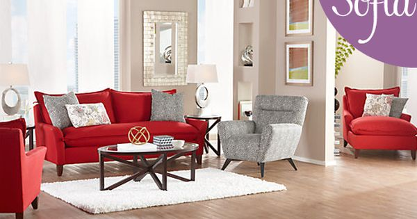 Sofia Vergara Pacific Palisades Scarlet Plush Living Room