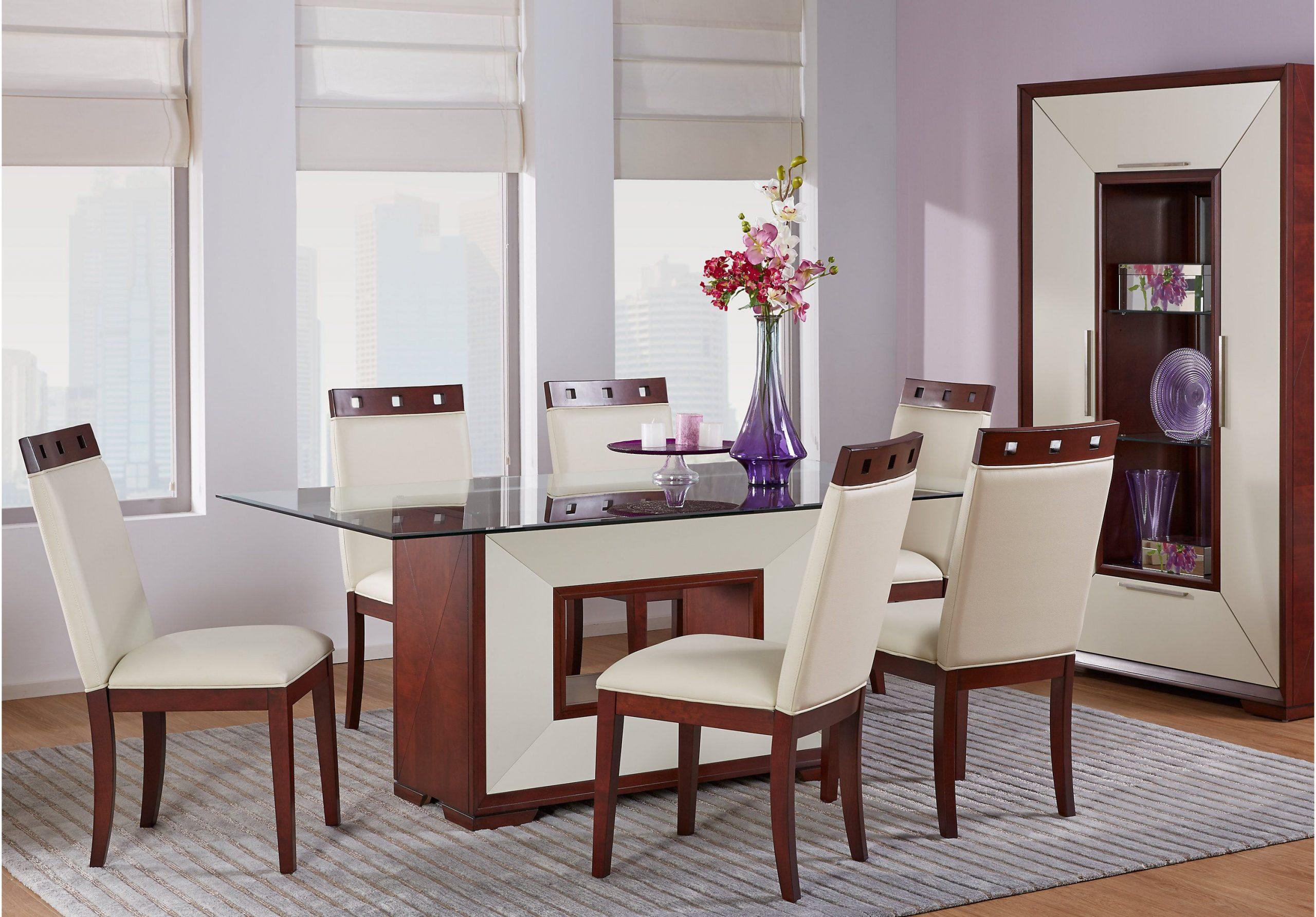 Sofia Vergara Savona Ivory 5 Pc Rectangle Dining Room with Open Bank