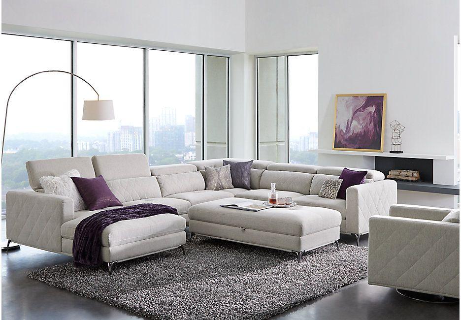 Sofia Vergara Via Sorrento White Sectional Living Room